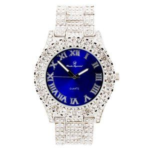 Bling-ed Out Round Watch ST10327Roman Silver/Blue